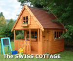 The SWISS COTTAGE Playhouse with optional felt shingle tile roof
